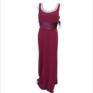 Gem Burgundy Wedding Prom  Maxi Gown Dress